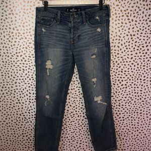 Hollister Low Rise Boyfriend Distressed Jeans